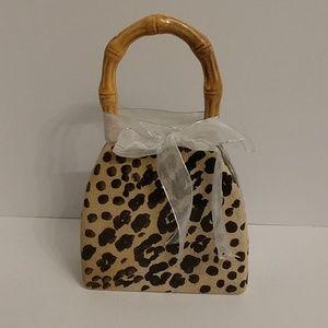Italian Lg Ceramic handbag with leopard print